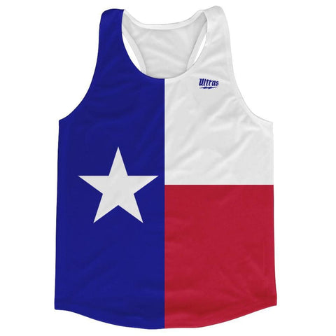 Texas State Flag Running Tank Top Racerback Track and Cross Country Singlet Jersey - Blue Red & White / Adult X-Small - Running Top