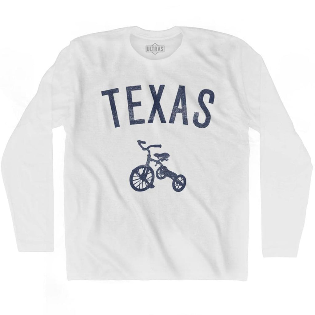 Texas State Tricycle Adult Cotton Long Sleeve T-shirt - White / Adult Small - Tricycle State