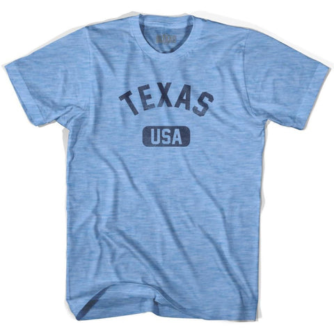 Texas USA Adult Tri-Blend T-shirt - Athletic Blue / Adult Small - USA State