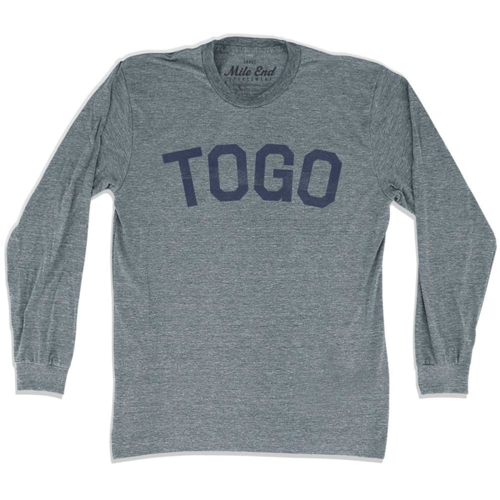 Togo City Vintage Long Sleeve T-shirt - Athletic Grey / Adult X-Small - Mile End City