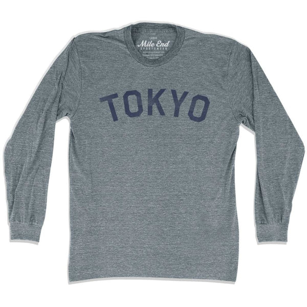 Tokyo City Vintage Long Sleeve T-Shirt - Athletic Grey / Adult X-Small - Mile End City