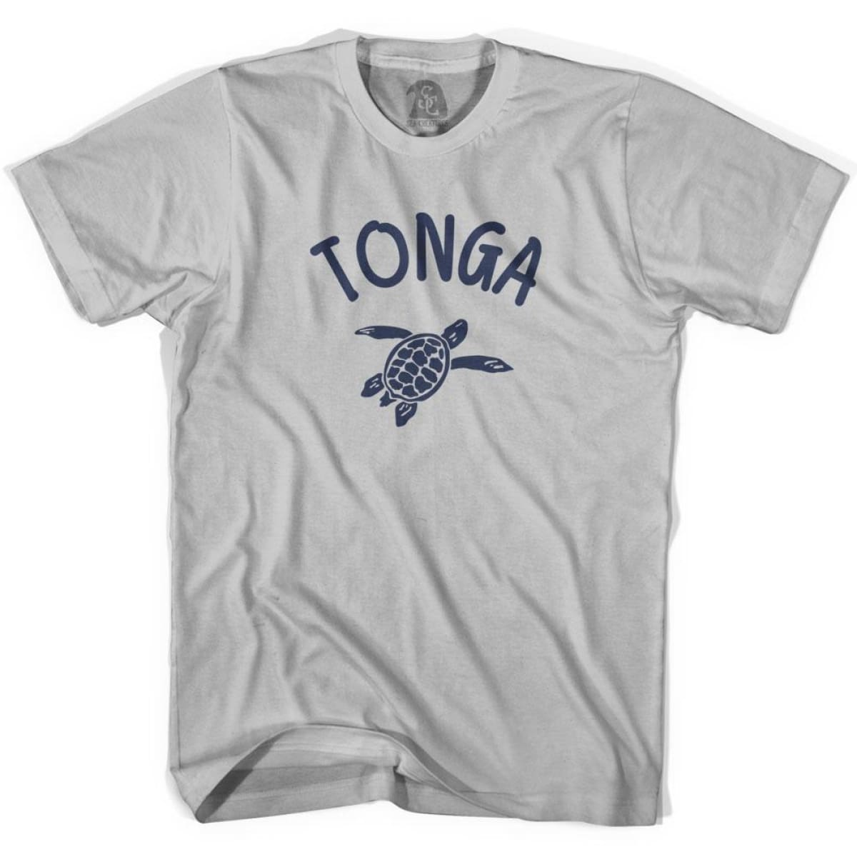 Tonga Beach Sea Turtle Adult Cotton T-shirt - Cool Grey / Adult Small - Turtle T-shirts