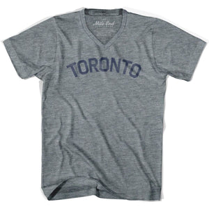 Toronto City Vintage V-neck T-shirt - Athletic Grey / Adult X-Small - Mile End City