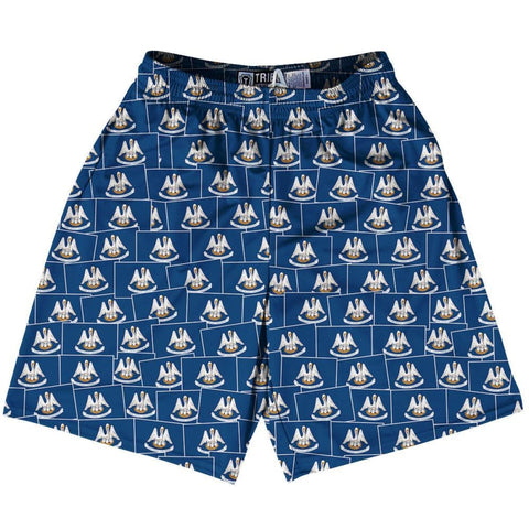 Tribe Louisiana State Party Flags Lacrosse Shorts - Blue / Youth X-Small - Party Lacrosse Shorts