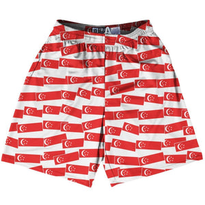 Tribe Singapore Party Flags Lacrosse Shorts - Red White / Adult Small - Party Lacrosse Shorts