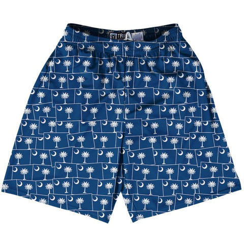 Tribe South Carolina State Party Flags Lacrosse Shorts - Blue / Youth X-Small - Party Lacrosse Shorts