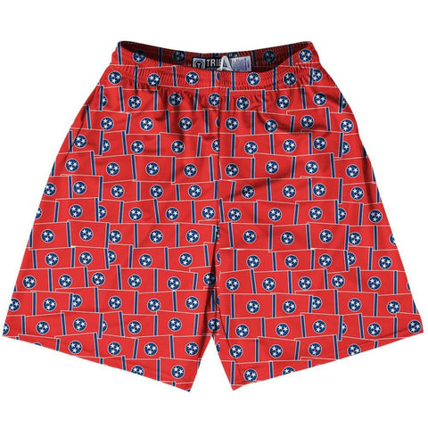 Tribe Tennessee State Party Flags Lacrosse Shorts - Red / Youth X-Small - Party Lacrosse Shorts