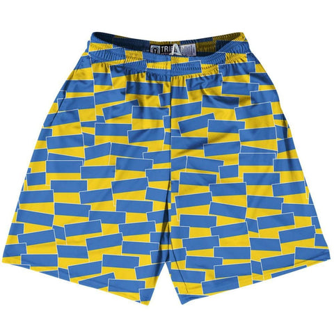 Tribe Ukraine Party Flags Lacrosse Shorts - Blue Yellow / Adult Small - Party Lacrosse Shorts