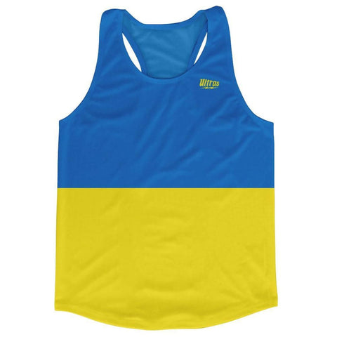 Ukraine Country Flag Running Tank Top Racerback Track and Cross Country Singlet Jersey - Blue Yellow / Adult X-Small - Running Top