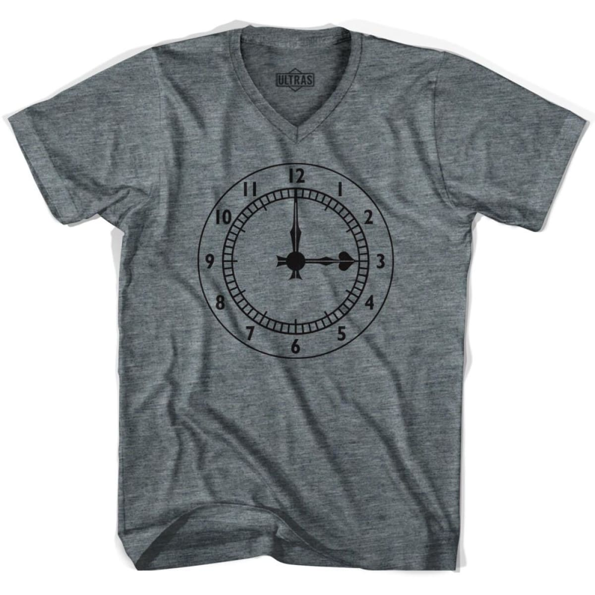 Ultras Arsenal Clock V-neck T-shirt - Athletic Grey / Adult X-Small - Ultras Club Soccer T-shirt