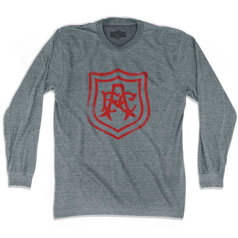 Ultras Arsenal Vintage AFC Crest Soccer Long Sleeve T-shirt - Athletic Grey / Adult X-Small - Ultras Club Soccer T-shirt