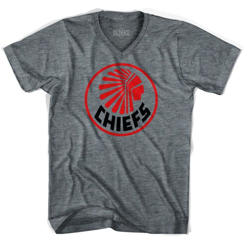 Ultras Atlanta Chiefs NASL 1968 V-neck T-shirt - Athletic Grey / Adult X-Small - Ultras Club Soccer T-shirt