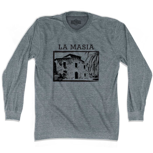 Ultras Barcelona La Masia Ultras Soccer Long Sleeve T-shirt - Athletic Grey / Adult X-Small - Ultras Club Soccer T-shirt