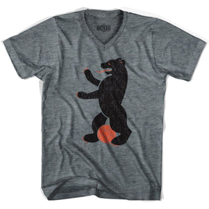 Ultras Berlin Bear Soccer V-neck T-shirt - Athletic Grey / Adult X-Small - Ultras Club Soccer T-shirt