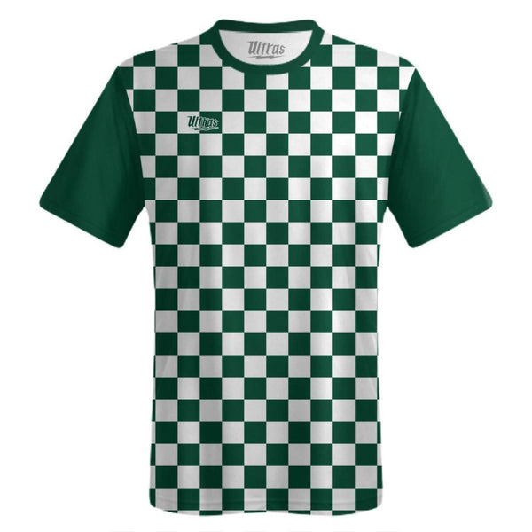 Ultras Custom Checkerboard Team Soccer Jersey - Hunter/White / Toddler 1 / No - Ultras Custom Team Soccer Jersey