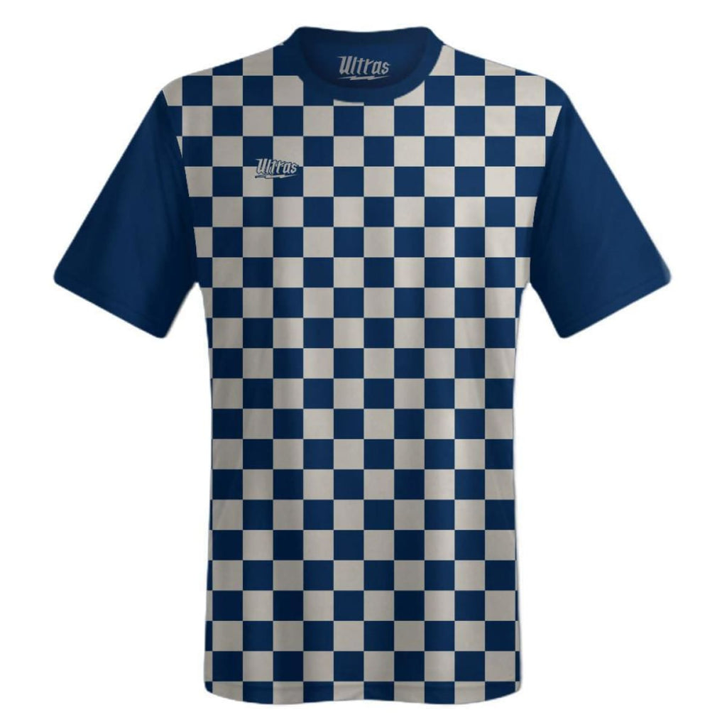 Ultras Custom Checkerboard Team Soccer Jersey - Navy/CoolGrey / Toddler 1 / No - Ultras Custom Team Soccer Jersey