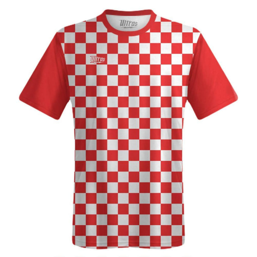 Ultras Custom Checkerboard Team Soccer Jersey - Red/White / Toddler 1 / No - Ultras Custom Team Soccer Jersey
