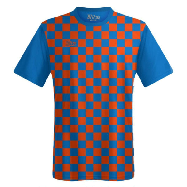 Ultras Custom Checkerboard Team Soccer Jersey - Royal/Bright-Orange / Toddler 1 / No - Ultras Custom Team Soccer Jersey