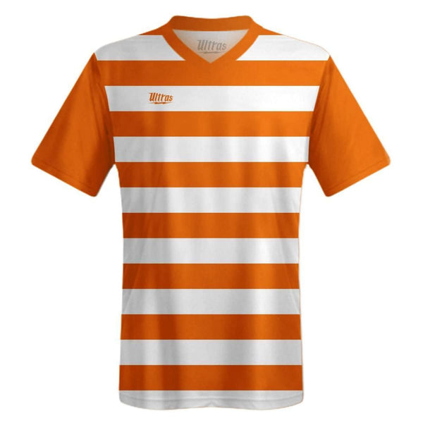 Ultras Custom Hoops Team Soccer Jersey - White/Burnt-Orange / Toddler 1 / No - Ultras Custom Team Soccer Jersey