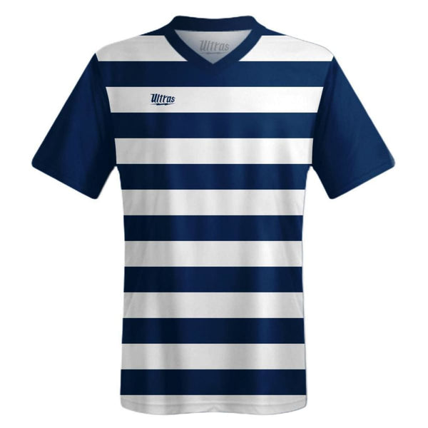 Ultras Custom Hoops Team Soccer Jersey - White/Navy / Toddler 1 / No - Ultras Custom Team Soccer Jersey