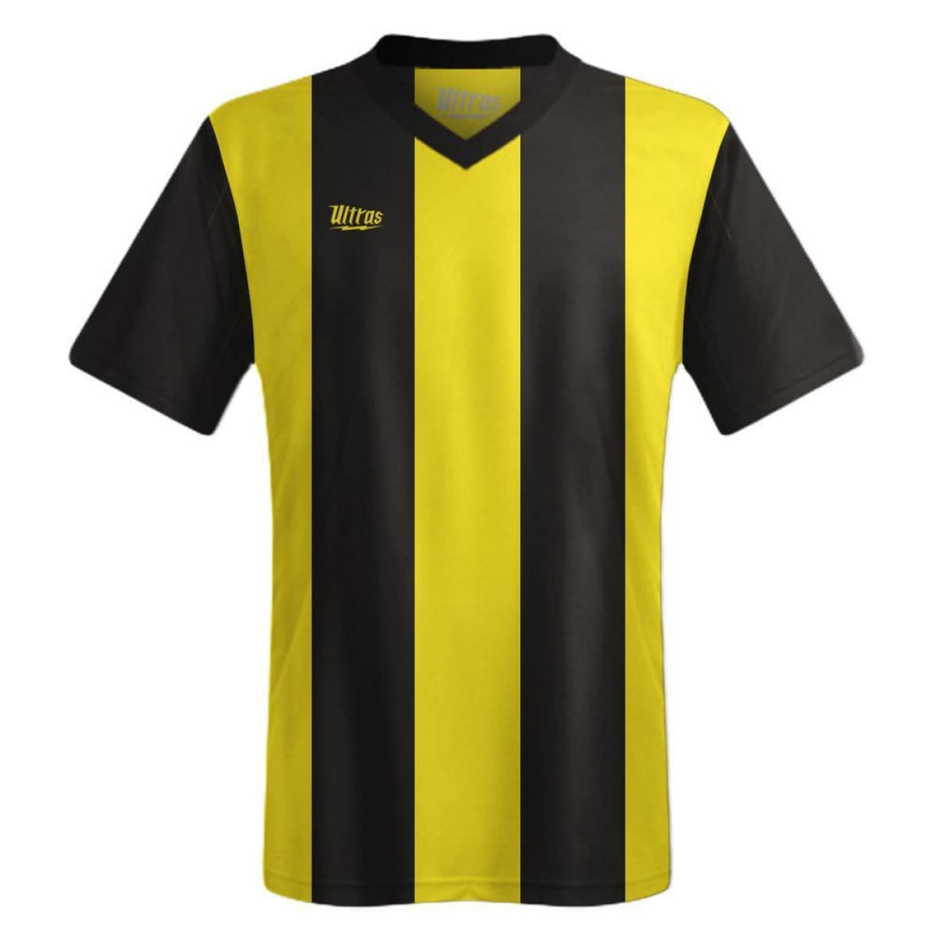 Ultras Custom San Siro Bold Team Soccer Jersey - Black/Yellow / Toddler 1 / No - Ultras Custom Team Soccer Jersey