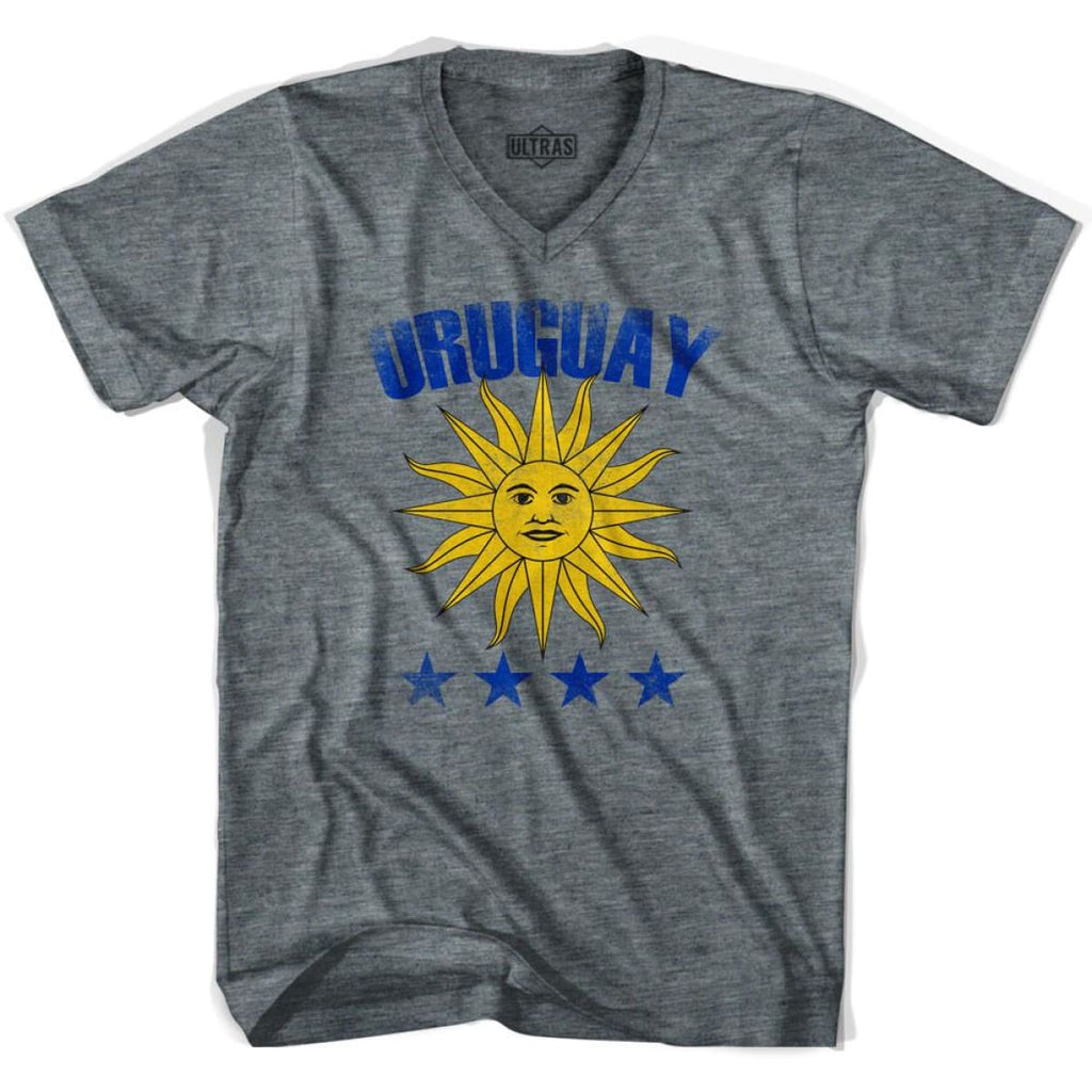 Ultras Uruguay 4 World Cups V-neck T-shirt - Athletic Grey / Adult X-Small - Ultras Club Soccer T-shirt