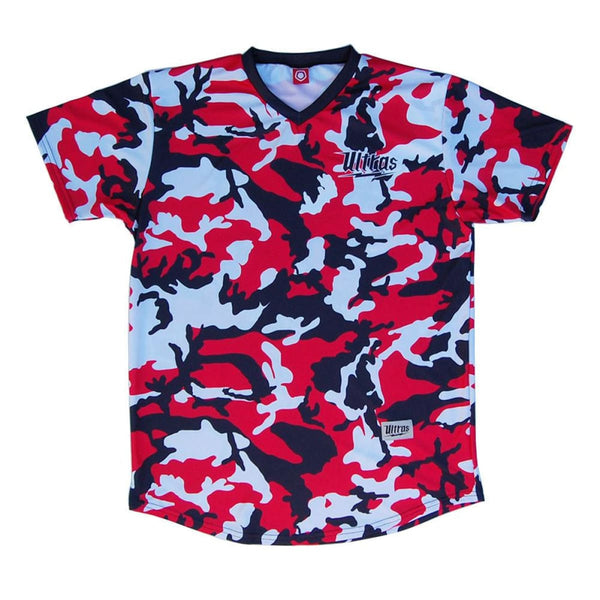 Ultras USA Red White and Blue Camo Sublimated Soccer Jersey - Red / Youth X-Small / No - Ultras USA Soccer Jerseys
