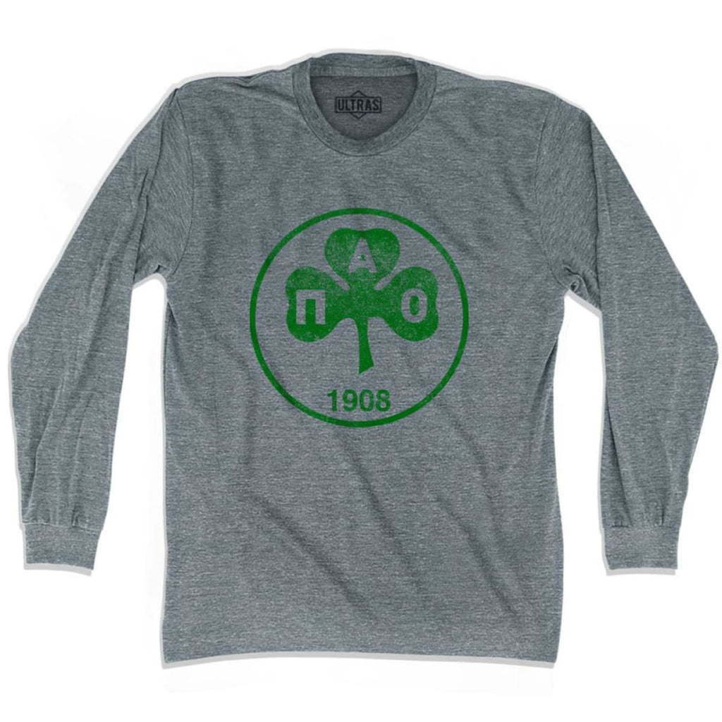 Ultras Vintage Panathinaikos Crest Ultras Soccer Long Sleeve T-shirt - Athletic Grey / Adult X-Small - Ultras Club Soccer T-shirt