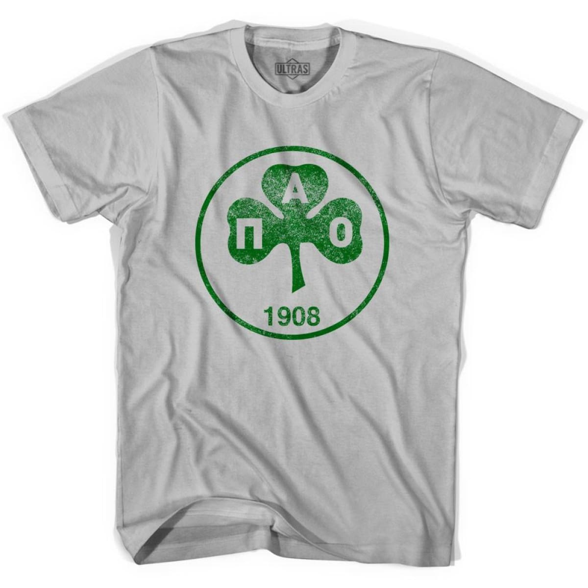 Ultras Vintage Panathinaikos Crest Ultras Soccer T-shirt - Cool Grey / Adult Small - Ultras Club Soccer T-shirt