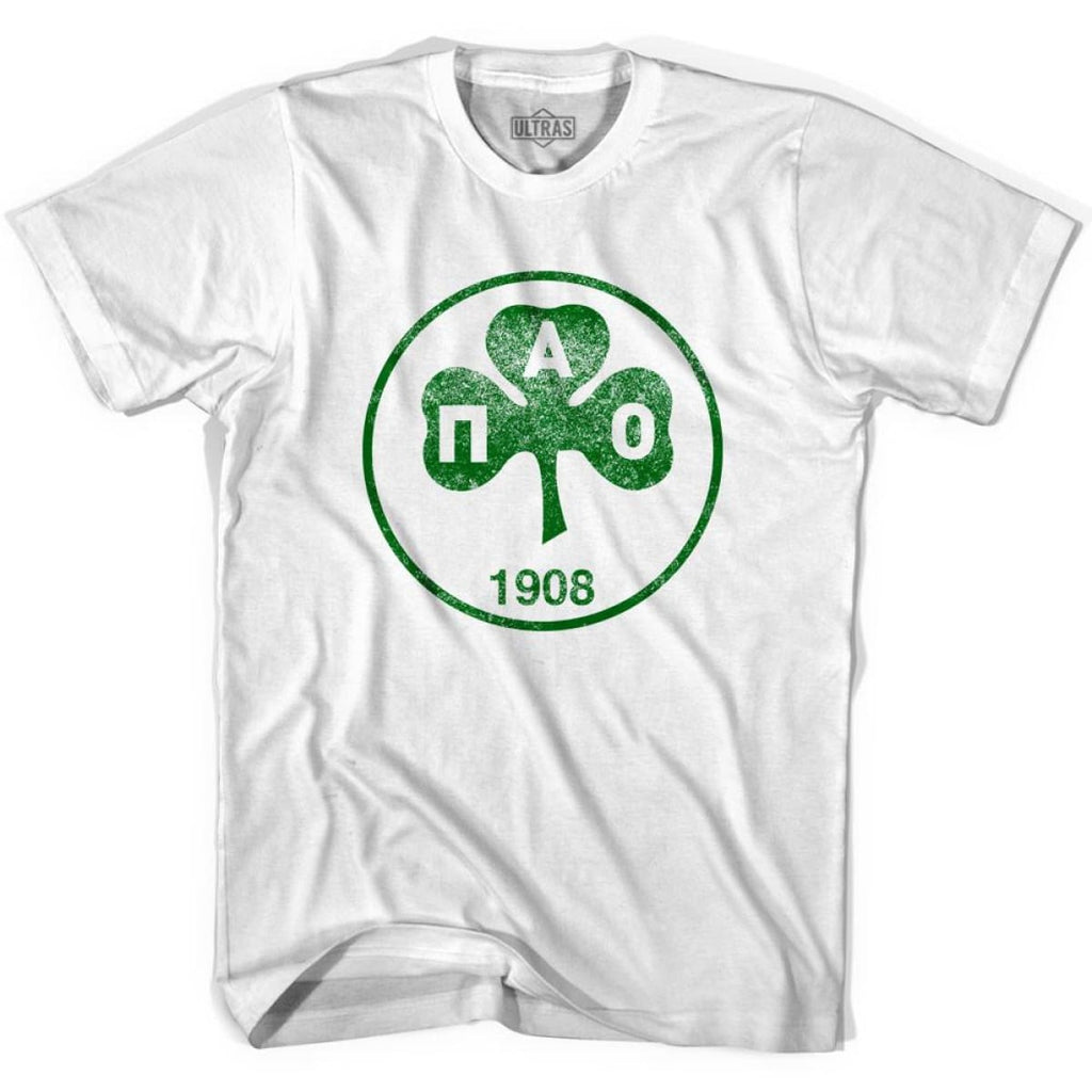 Ultras Vintage Panathinaikos Crest Ultras Soccer T-shirt - White / Youth X-Small - Ultras Club Soccer T-shirt