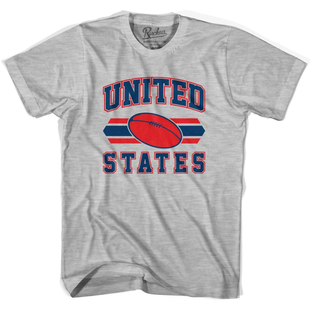 United States 90s Rugby Ball T-shirt - Grey Heather / Youth X-Small - Rugby Sevens