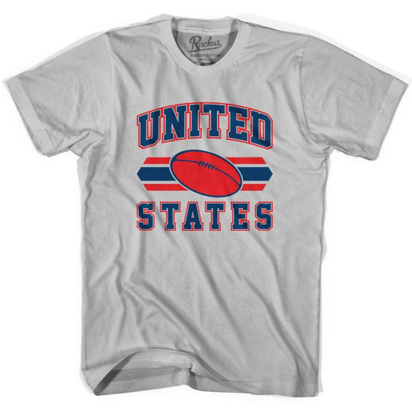 United States 90s Rugby Ball T-shirt - Silver / Youth X-Small - Rugby Sevens