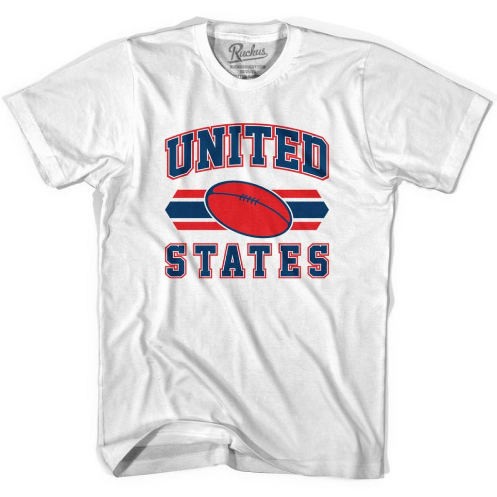 United States 90s Rugby Ball T-shirt - White / Youth X-Small - Rugby Sevens