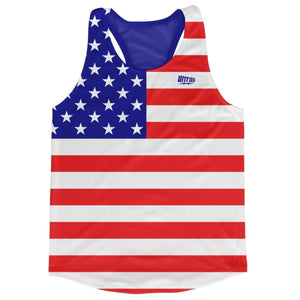 United States Country American Flag Running Tank Top Racerback Track and Cross Country Singlet Jersey - Royal Blue / Adult X-Small - Running