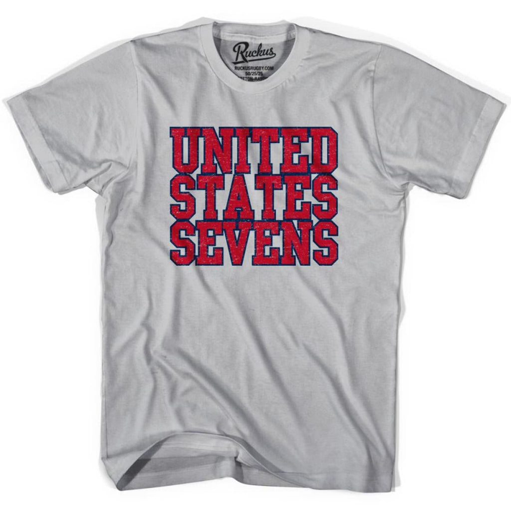 United States (Red) Seven Rugby Nations T-shirt - Cool Grey / Youth Small - Rugby T-shirt