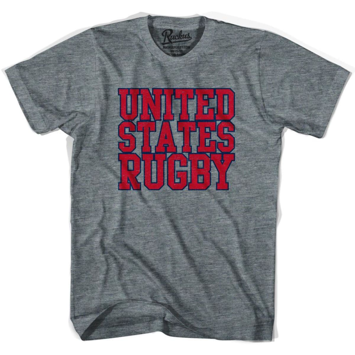 United States (Red Version) Rugby Nations T-shirt - Athletic Grey / Adult Small - Rugby T-shirt