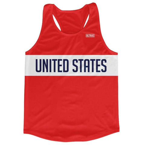 United States Running Tank Top Racerback Track and Cross Country Singlet Jersey - Red / Adult X-Small - Running Top