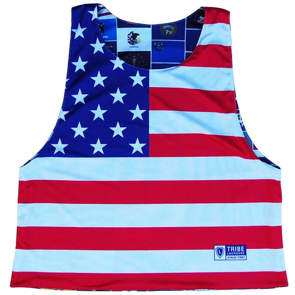 USA American State Flags Reversible Lacrosse Pinnie - Graphic Lacrosse Pinnies