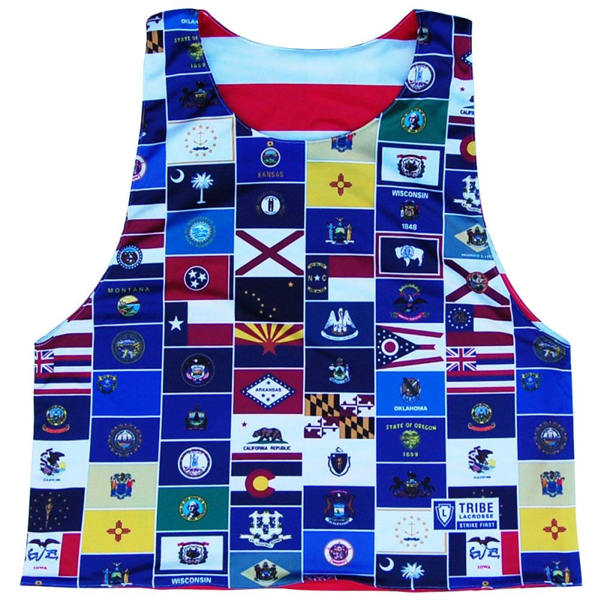 USA American State Flags Reversible Lacrosse Pinnie - Red & White / Youth X-Small / No - Graphic Lacrosse Pinnies