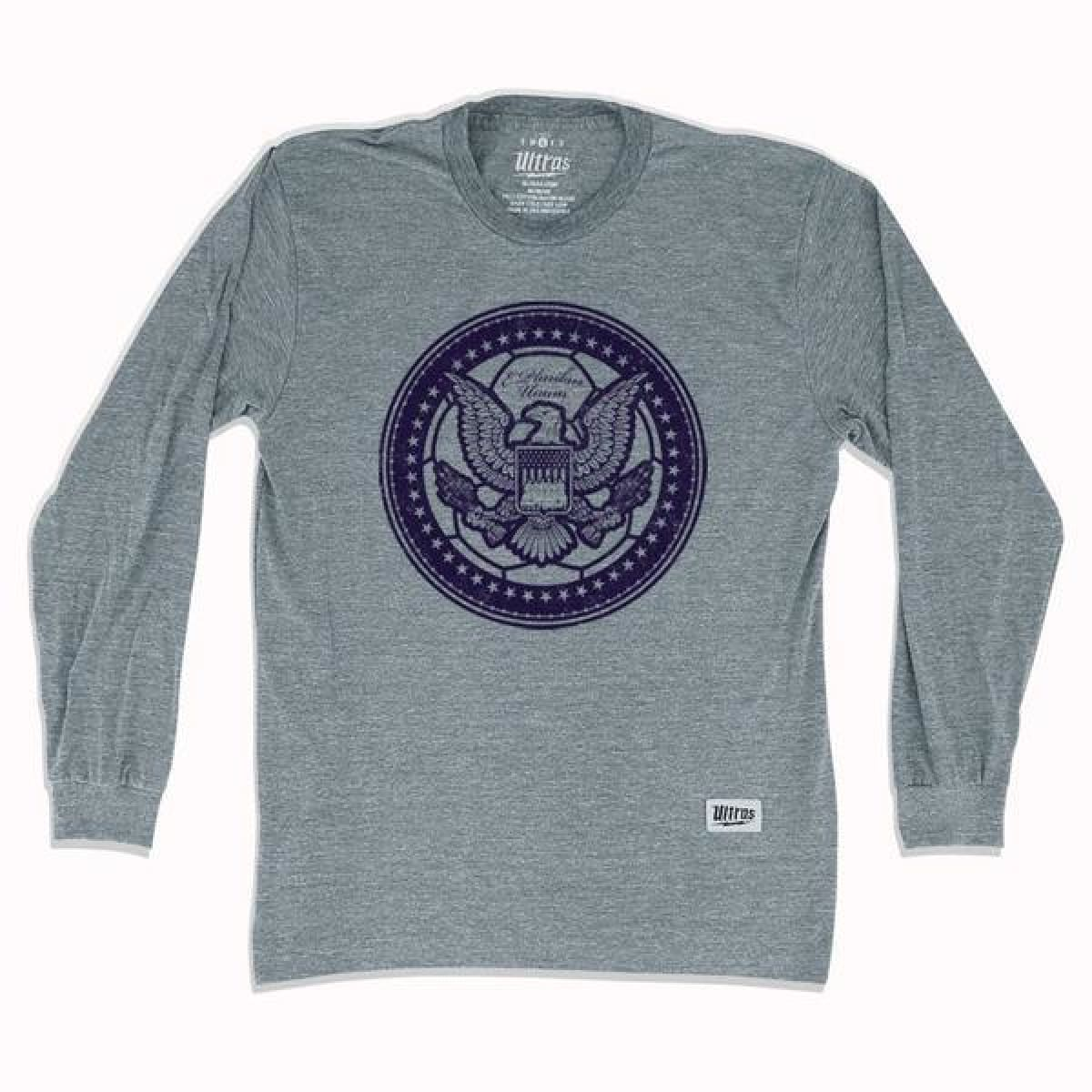 USA Eagle Soccer Ball Long Sleeve T-shirt - Athletic Grey / Adult Small - Ultras USA Soccer T-shirts