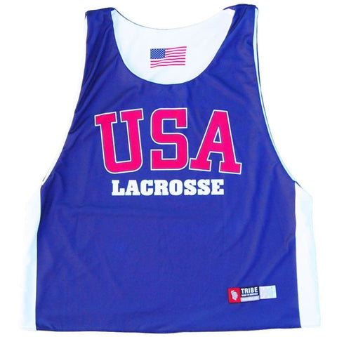 USA Lacrosse Sublimated Reversible Pinnie - Navy and White / Youth X-Small / No - Graphic Lacrosse Pinnies