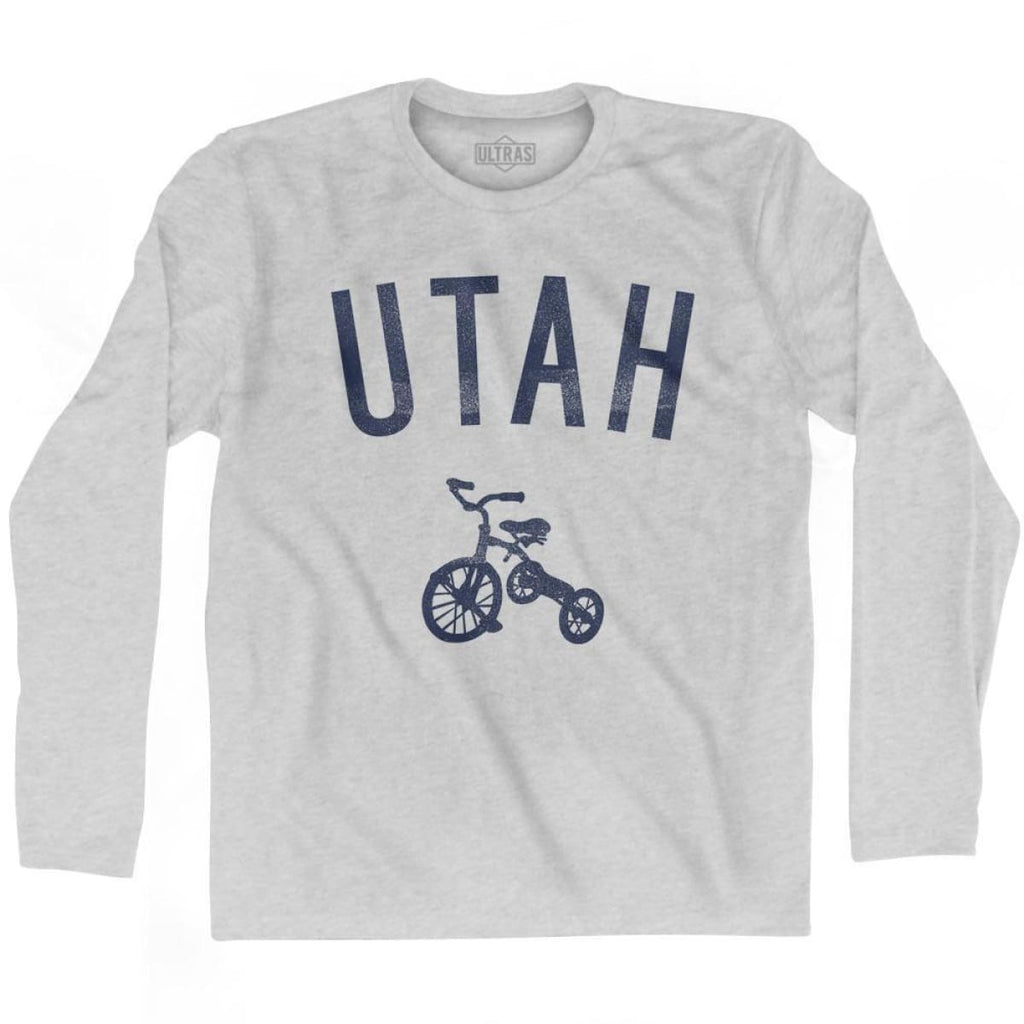 Utah State Tricycle Adult Cotton Long Sleeve T-shirt - Grey Heather / Adult Small - Tricycle State