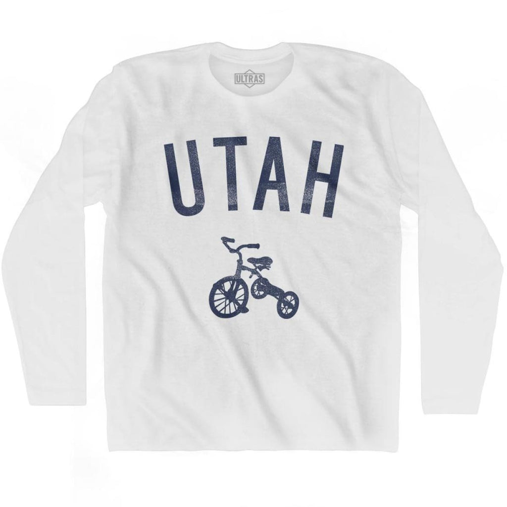 Utah State Tricycle Adult Cotton Long Sleeve T-shirt - White / Adult Small - Tricycle State