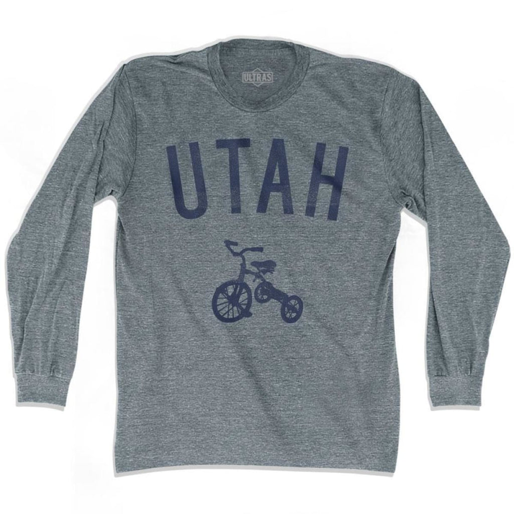 Utah State Tricycle Adult Tri-Blend Long Sleeve T-shirt - Athletic Grey / Adult Small - Tricycle State