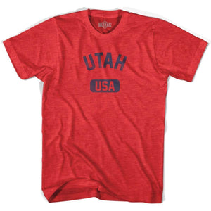 Utah USA Adult Tri-Blend T-shirt - Heather Red / Adult Small - USA State
