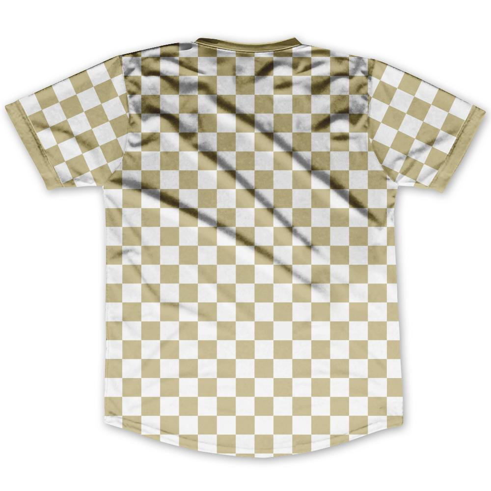 Vegas Gold & White Custom Checkerboard Soccer Jersey By Ultras