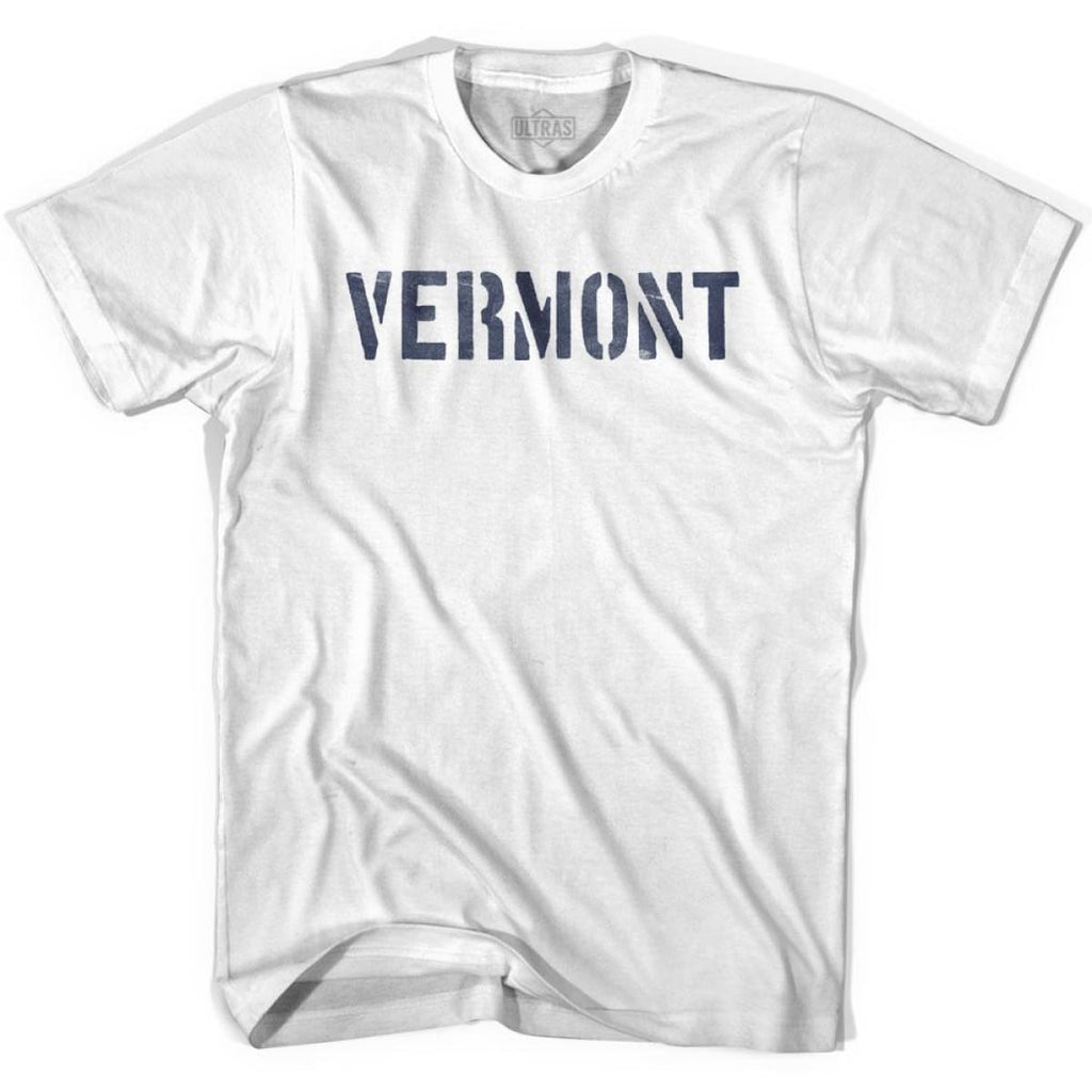 Vermont State Stencil Adult Cotton T-shirt - White / Adult Small - Stencil State