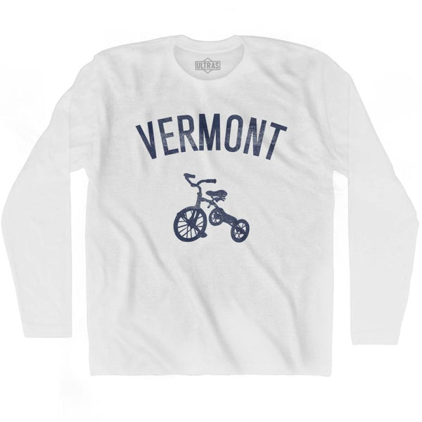 Vermont State Tricycle Adult Cotton Long Sleeve T-shirt - White / Adult Small - Tricycle State