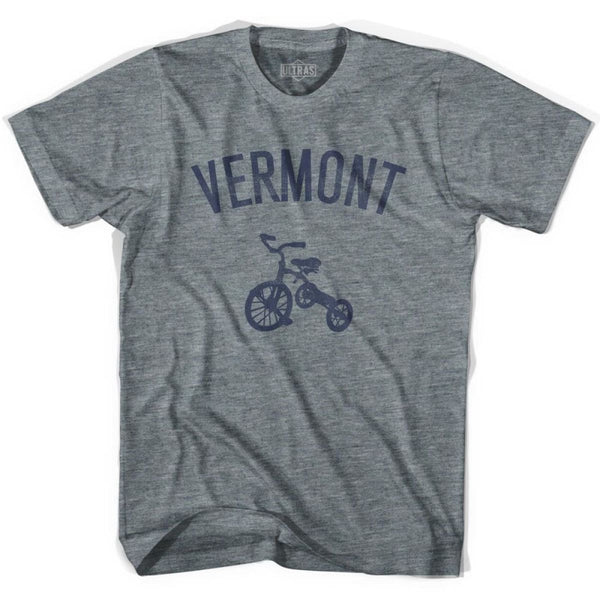 Vermont State Tricycle Adult Tri-Blend T-shirt - Athletic Grey / Adult X-Small - Tricycle State