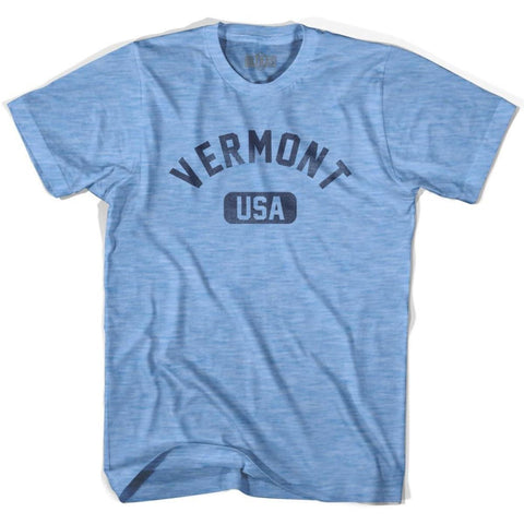 Vermont USA Adult Tri-Blend T-shirt - Athletic Blue / Adult Small - USA State